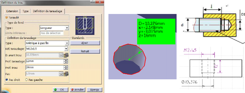 Holes and import standard Thread in CATIA